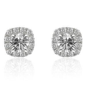 0.80 Ct Diamond Halo Stud Earrings 14K White Gold